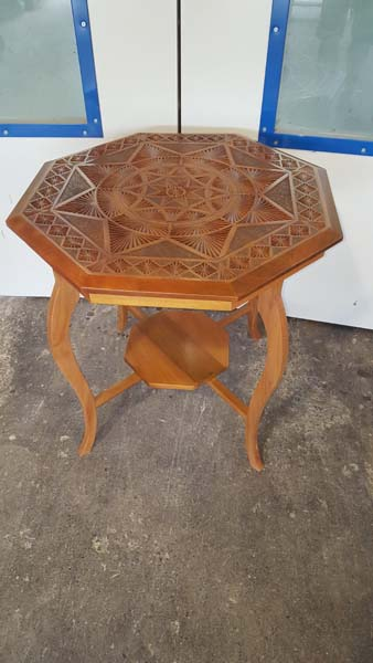 AFTER EARTHWOOD kauri table with newly designed legs and base in Arts and Crafts era style